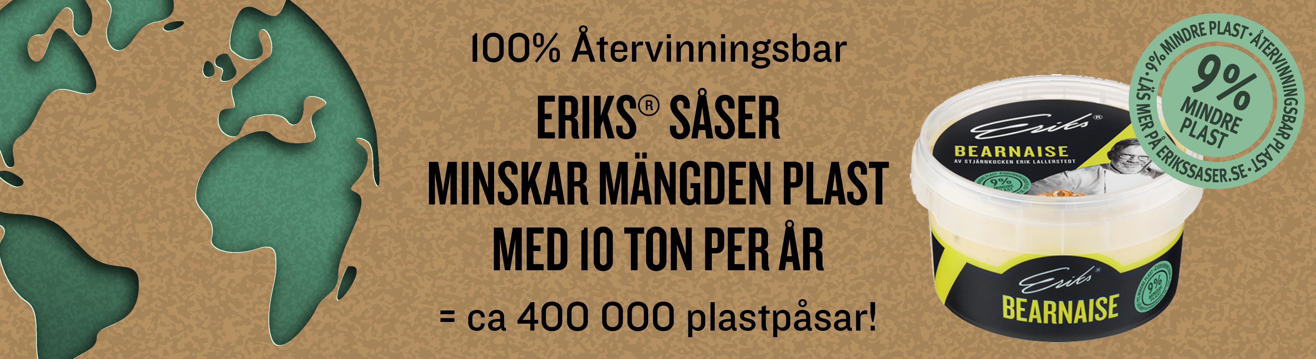 Eriks såser minskar mängden plast med 10 ton per år, det är ca 400 000 plastpåsar.