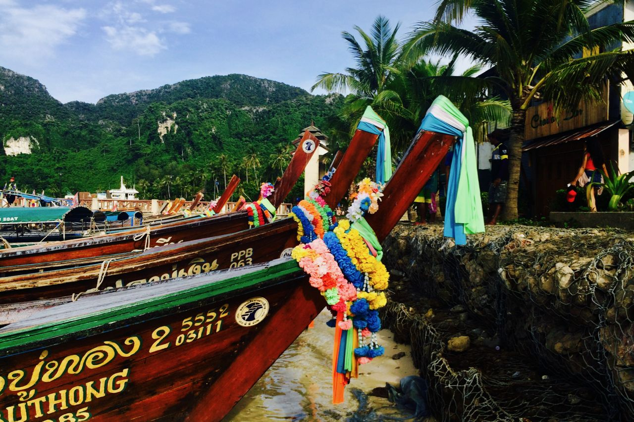 Colorful Boats at Dock on one of Thailand's Phi Phi Islands