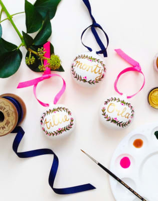 Hand Painted Christmas Baubles by Pearl and Groove - art in London