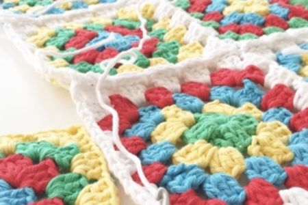 Improver crochet - joining granny squares - Obby