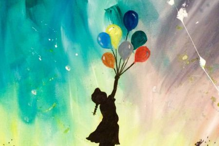 Painting class in London in which you will learn how to paint Banksy's Flying Balloon Girl while having a glass of bubbly and some fun with other Obby-ists
