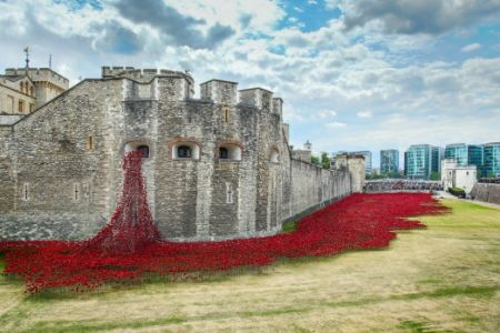 Learn to paint with Popup painting London at London Bridge, by painting your own version of Rebecca Hunter's Poppies at the Tower