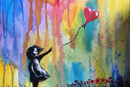 Learn how to paint with Popup painting London in Angel London, painting Banksy Ballon Girl with Poppies
