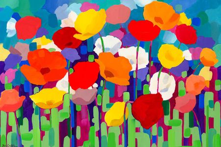 Learn how to paint with Popup painting London in Richmond London, painting poppies for a good charitable cause