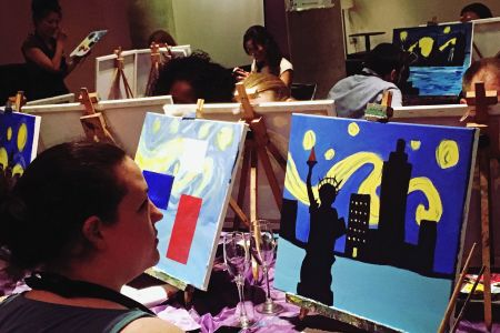 Paint Starry Night class by popup painting and obby in London