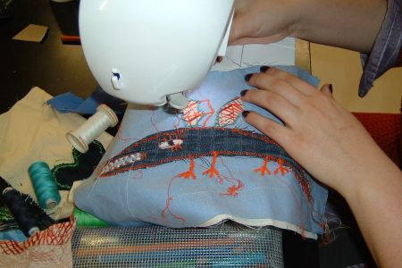This class is for those new to using a sewing machine, wishing to creatively re-use items of old clothing or fabric remnants into practical objects - Obby