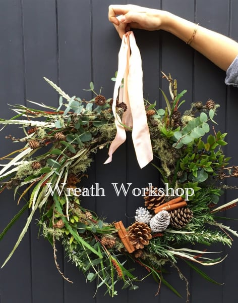 Christmas Wreath with Flowers by Daisy at Pearl and Groove by Pearl and Groove - crafts in London