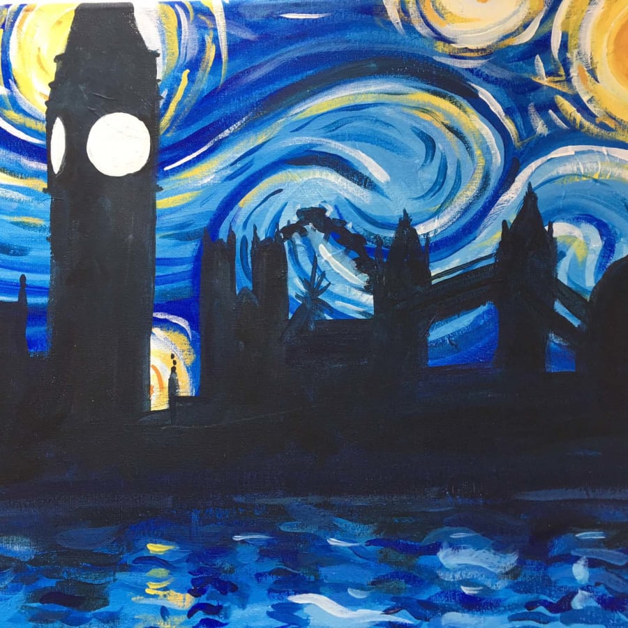 Paint Starry Night in Soho by PopUp Painting - art in London