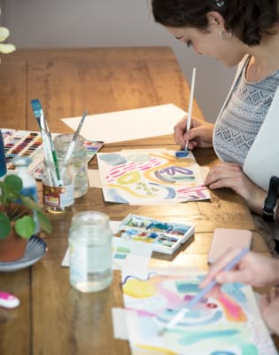 Introduction to Watercolour with Indi Skoven Prints at Obby Pop Up at Make More Festival by Indi Skoven - art in London
