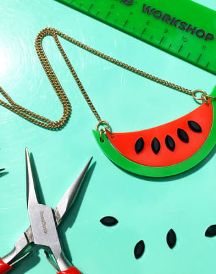 Acrylic Watermelon Necklace Jewellery Making Workshop Obby