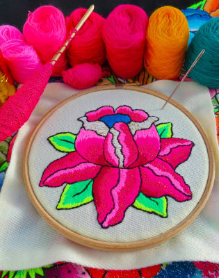 """Learn hand embroidery and stitch an """"Andean Rose"""" with Bella Lane : Afternoon by Fabrications - crafts in London"""