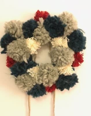 Make a Christmas Pom Pom Wreath by Chap and Darling - crafts in London