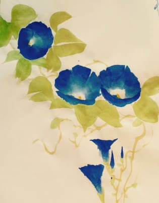 Japanese Ink & watercolour Painting climbers - Morning glory, Gourd, Wisteria & sparrows by Talia LeHavi Studio - art in London
