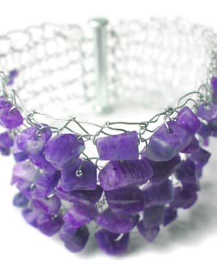 Hand Knitted Wire Cuff with Semi-Precious Stones by Teri Howes Jewellery - crafts in London