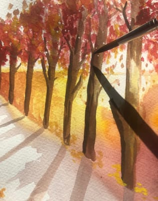 watercolour and Gouache Painting class - learn to paint a landscape in waterpaint in our workshop by Makings and Musings - art in London
