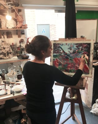 Abstract Painting in Artist Studio by Cristiano Di Martino - art in London