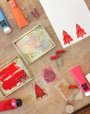 Christmas Card Lino Printing Workshop by The Workshop N4 - art in London