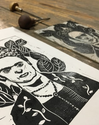 Frida Kahlo by Night | Lino - Printmaking by Lavender Print School - art in London