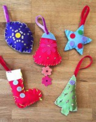 For Kids: Hand-Sew your own Christmas Ornaments by The Village Haberdashery - crafts in London