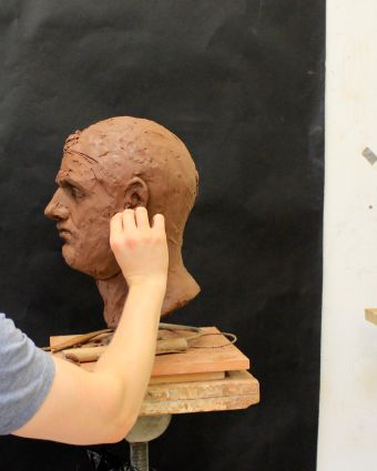 Sculpture Beginners Class, Copy of a Roman Antique Cast.
