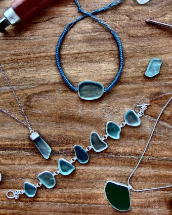 Bezel Setting Natural Sea Glass