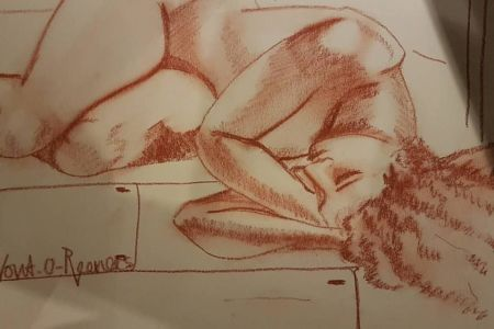 Classic Life Drawing with a glass of wine