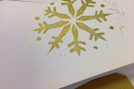 Christmas card lino block printing - Obby