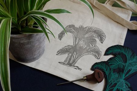 Lino Printed Tote Bags at Espacio Gallery