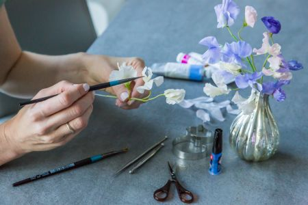"""Botanical Sculpture from polymer clay - """"Sweet pea"""""""