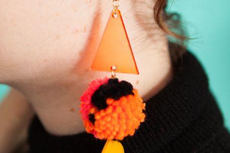 Perspex and Pom Pom Jewellery