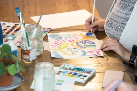 Introduction to Watercolour with Indi Skoven Prints at Obby Pop Up at Make More Festival