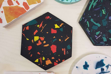 Make a pair of Jesmonite Terrazzo Coasters