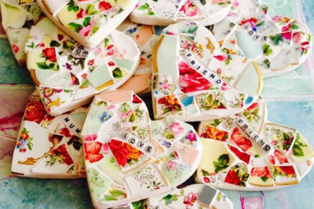 Mosaic Workshop for beginners using Vintage China make a Mosaic Heart Suitable for Children & Adults