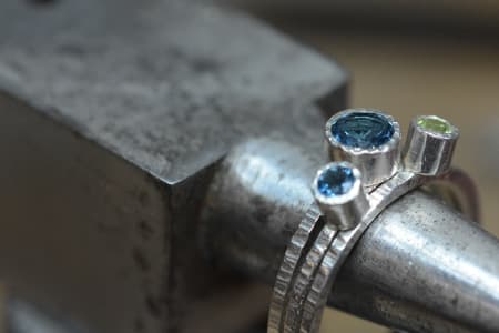 Beginner Jewellery: A full 2 day workshop making Sterling Silver rings with bezeled gem settings