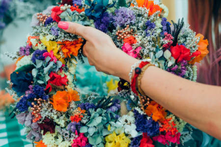 Mothers Day Spring Dried Flower Wreath Making Workshop
