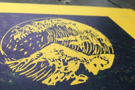 Traditional Woodblock Printing Workshop : Theme : The Great Wave of Kanagawa' By Katsushika Hokusai