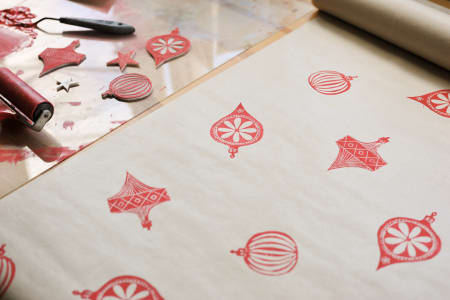 Block printing wrapping paper