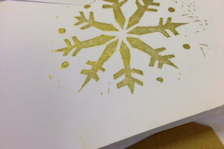 Christmas Card and Stocking Lino Block Printing