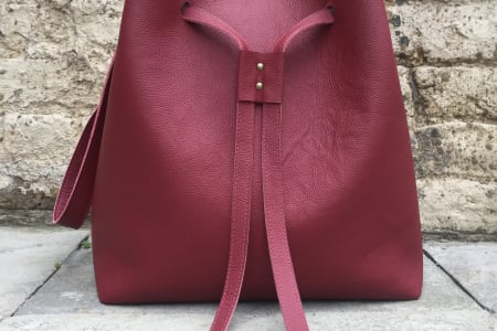 Learn To Make a Leather Tote. Upcycle by sewing your own leather bag.
