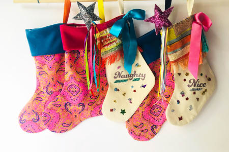 Hand woven Xmas Stockings 4 Kids