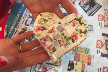 Make a Mosaic Heart with crockery If the dates listed are not suitable I offer a Flexi option