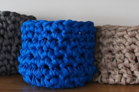 Learn how to Crochet your own Recycled T-shirt Yarn Basket