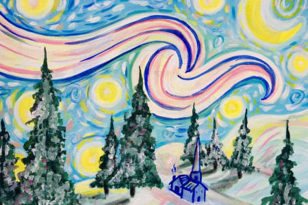 Paint a Snowy Starry Night