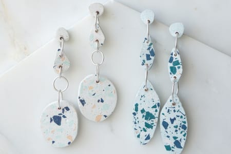 Make your own Silver and Terrazzo stone statement earrings
