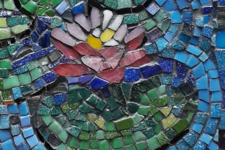 Mosaic study of Monet's paintings in glass mosaic