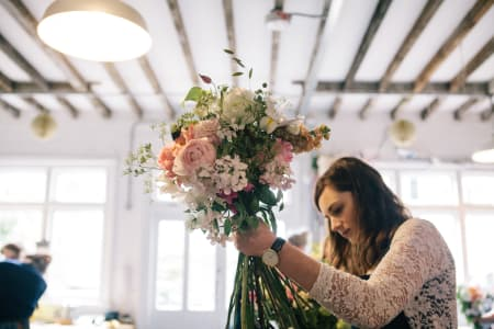 Hand Tied Bouquet Making