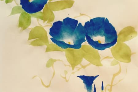 Japanese Ink & watercolour Painting climbers - Morning glory, Gourd, Wisteria & sparrows