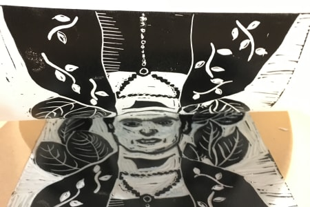 Frida Kahlo by Day - Lino & Drypoint Printmaking
