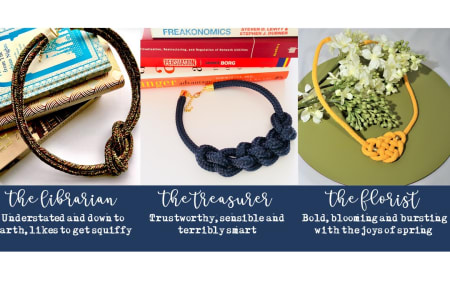 Create statement knotted necklaces with rope