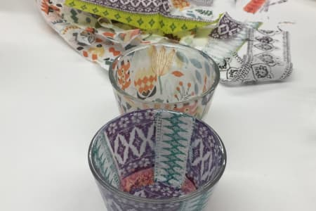 Create a set of tea-light holders with decoupage